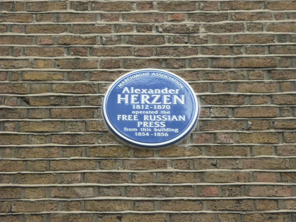 Plaque marking the site of Herzen's Free Russian Press, 61 Judd Street, Bloomsbury