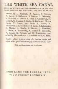Title page, English version of The History of the Construction of the White Sea Canal